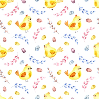 Seamless watercolor pattern with easter chickens, willow twigs, easter eggs on a white background.