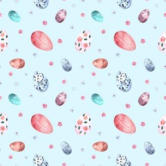 Бесшовные акварель с пасхальными крашеными яйцами на цветном фоне, иллюстрации для праздников, ткани, открытки, упаковка.