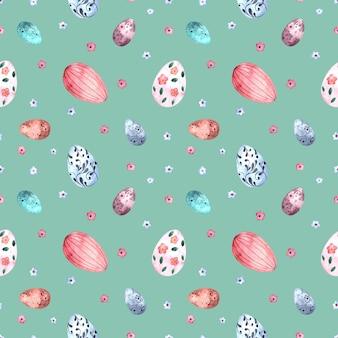 Бесшовный акварельный образец с пасхальными крашеными яйцами на цветном фоне.