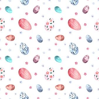Бесшовный акварельный образец с пасхальными крашеными яйцами на белом фоне.