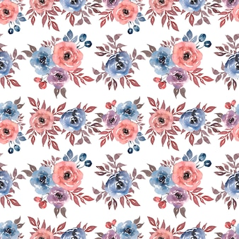 Seamless watercolor pattern with  floral in blue red colors.