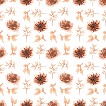 Seamless watercolor pattern with  floral in brown colors.