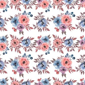 青赤色の花とのシームレスな水彩パターン。