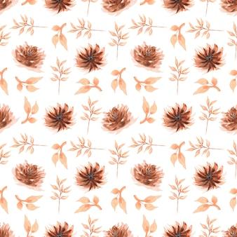茶色のフローラルとシームレスな水彩パターン。