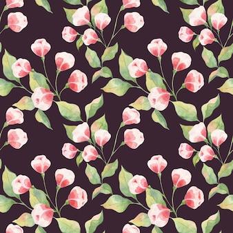 緑の葉と白い背景の上のピンクのつぼみ、リンゴの小枝とつぼみとのシームレスな水彩パターン