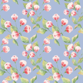 Seamless watercolor pattern with green leaves and pink buds on a blue background, apple twigs and buds