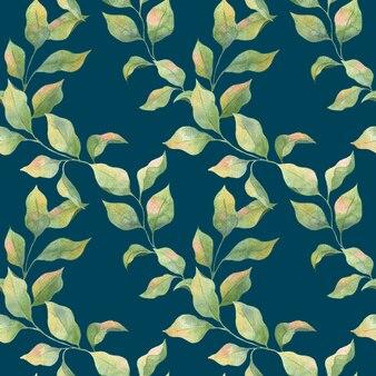 青い背景、リンゴの枝に緑の春の葉とシームレスな水彩パターン