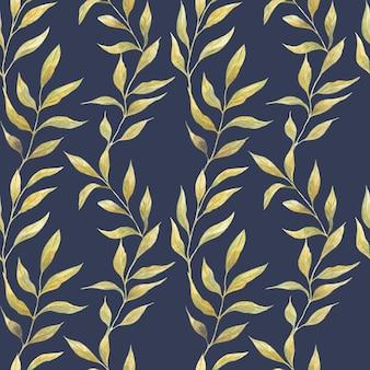 青い背景、野生植物の緑の春の葉とのシームレスな水彩パターン