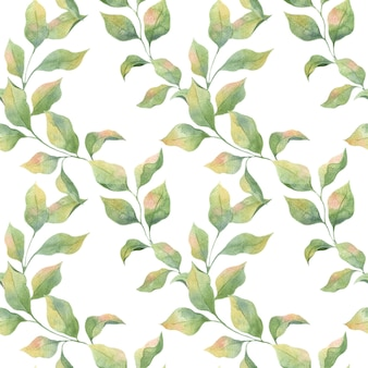 白い背景、リンゴの枝に緑の春の葉とシームレスな水彩パターン