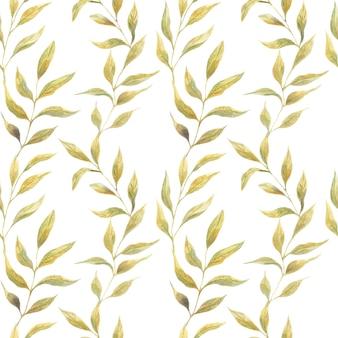 白い背景、野生植物の緑の春の葉とシームレスな水彩パターン