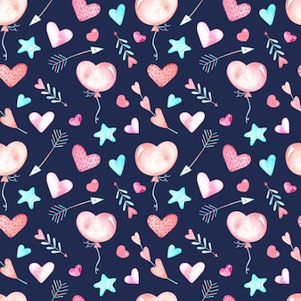 Seamless watercolor pattern with hearts, arrows and stars on a blue background, watercolor illustration for valentine's day.