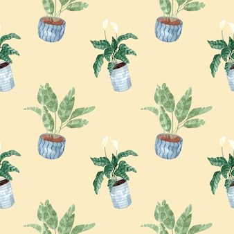 Seamless watercolor pattern with indoor plants on beige background, watercolor illustration for home
