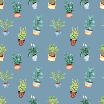 Seamless watercolor pattern with indoor plants on a blue background, watercolor illustration for home