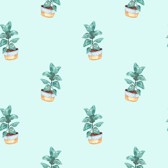 Seamless watercolor pattern with indoor plants-ficus on a blue background, watercolor illustration for home