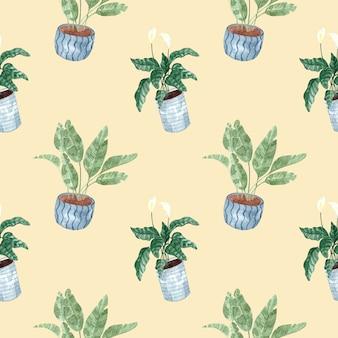 Бесшовный акварельный образец с комнатными растениями на бежевом фоне, акварельные иллюстрации для дома