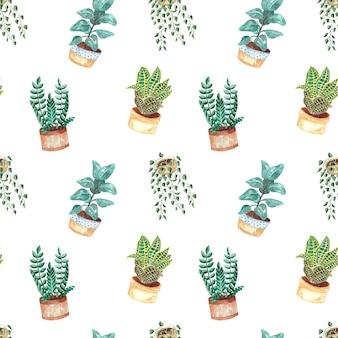 Бесшовный акварельный образец с комнатными растениями на белом фоне, акварельные иллюстрации для дома