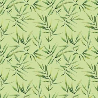 緑の背景に大きな枝と笹の葉とのシームレスな水彩画パターン。