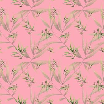 ピンクの背景に大きな枝と笹の葉とのシームレスな水彩パターン