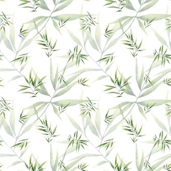 白い背景の上の大きな枝と笹の葉とのシームレスな水彩パターン