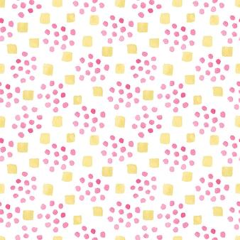 Бесшовный акварельный образец с беспорядком из розовых округлых пятен и оранжевых квадратных форм