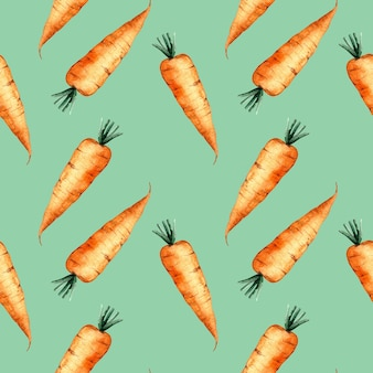 Seamless watercolor pattern with an orange carrot on green background, watercolor illustration with vegetables