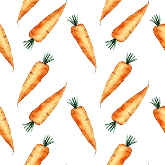 Seamless watercolor pattern with an orange carrot on white background, watercolor illustration with vegetables