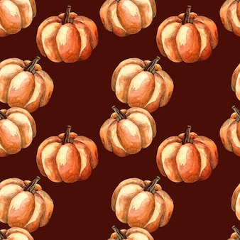 Seamless watercolor pattern with an orange pumpkin on dark background, watercolor illustration with vegetables