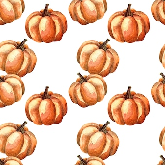 Seamless watercolor pattern with an orange pumpkin on white background, watercolor illustration with vegetables