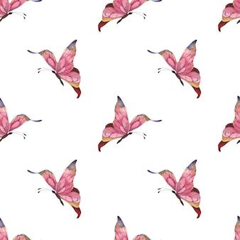 ピンクの抽象的な蝶が白い背景に羽ばたくとシームレスな水彩パターン