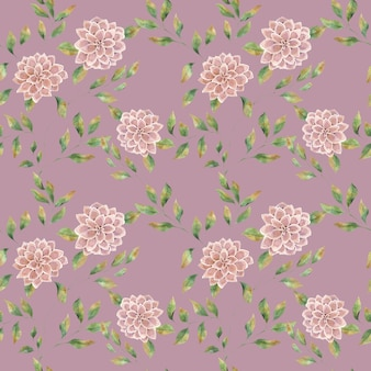 Seamless watercolor pattern with pink large flowers on a colored background, big lush aster flower.