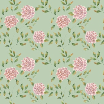 Seamless watercolor pattern with pink large flowers on a green background, big lush aster flower.