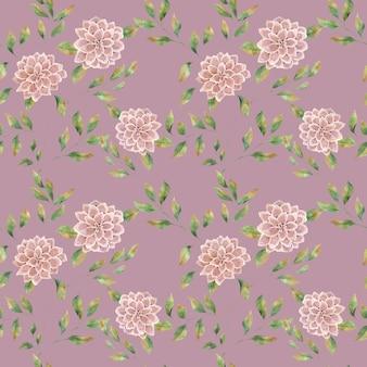 色付きの背景にピンクの大きな花、大きな緑豊かなアスターの花とのシームレスな水彩パターン。