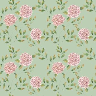 緑の背景にピンクの大きな花、大きな緑豊かなアスターの花とのシームレスな水彩パターン。