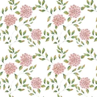 白い背景にピンクの大きな花、大きな緑豊かなアスターの花とのシームレスな水彩パターン。