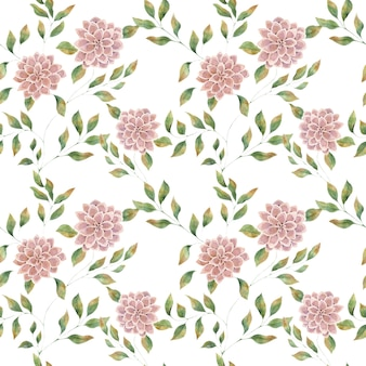 Seamless watercolor pattern with pink large flowers on a white background, big lush aster flower.