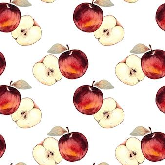白い背景の上の赤いリンゴとリンゴのスライスとのシームレスな水彩パターン。