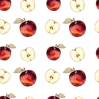 Seamless watercolor pattern with red apples and apple slices on a white background.