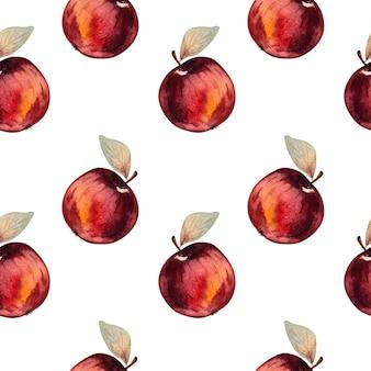 白い背景の上の赤いリンゴとのシームレスな水彩パターン。