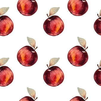 Seamless watercolor pattern with red apples on a white background.