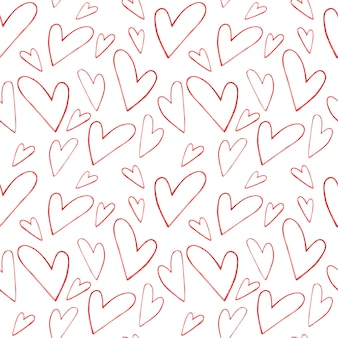 Seamless watercolor pattern with red contour hearts on a white background, watercolor illustration for valentine's day.