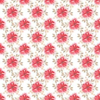 赤い花とベージュの葉とのシームレスな水彩パターン