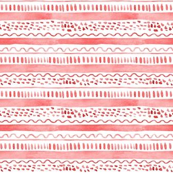 白い背景に赤い縞模様とドットのシームレスな水彩パターン