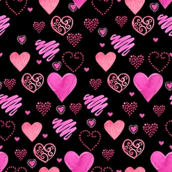 Seamless watercolor pattern with red watercolor hearts.