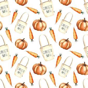 Seamless watercolor pattern with shopping bag and vegetables, watercolor painting on a white background, pumpkin, carrot.