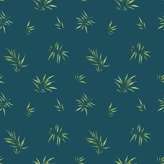 暗い背景に小さな笹の葉とシームレスな水彩パターン