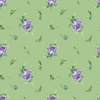 A seamless watercolor pattern with a variety of lilac peony flowers and leaf on a green background