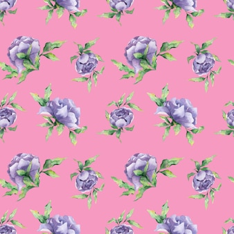 A seamless watercolor pattern with a variety of lilac peony flowers and leaf on a pink background