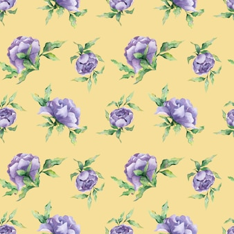 A seamless watercolor pattern with a variety of lilac peony flowers and leaf on a yellow background