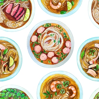 Seamless watercolor pattern with vietnamese soup pho, top view.
