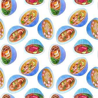 Seamless watercolor pattern with vietnamese soup pho.